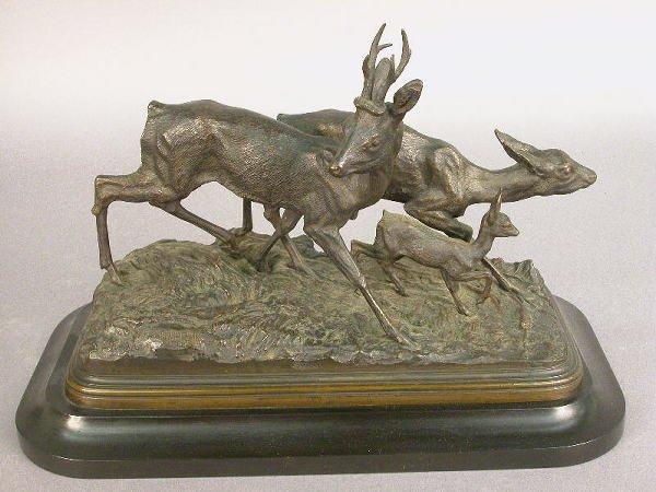 24: Signed I Bonheur bronze of three deer in