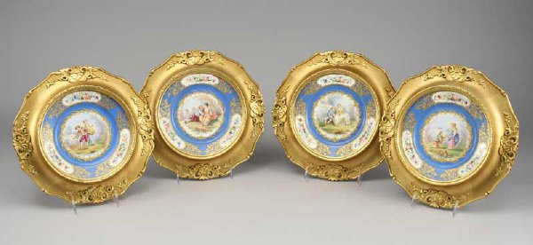 2: Set (4) Sevres style painted gilt porcelain plates