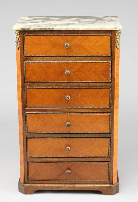 3: Miniature French Louis XV style mahogany chest