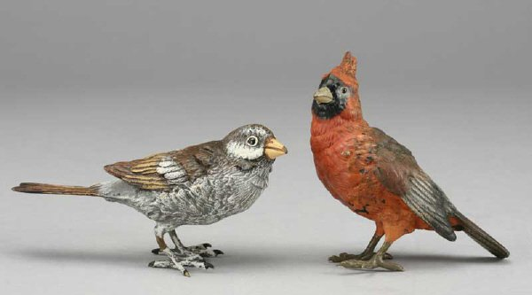 4: (2) Austrian cold painted bronze birds