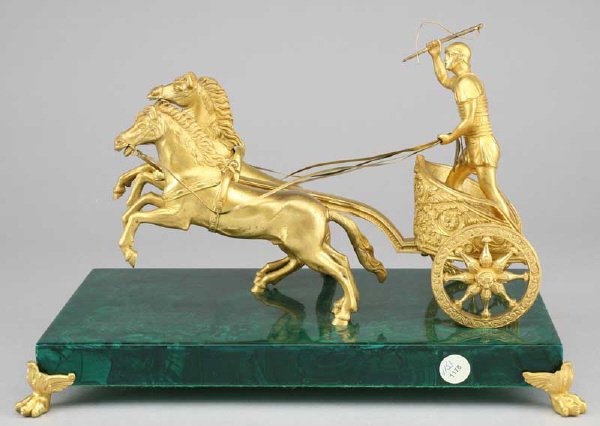 8: Russian gilt bronze equestrian group on a faux