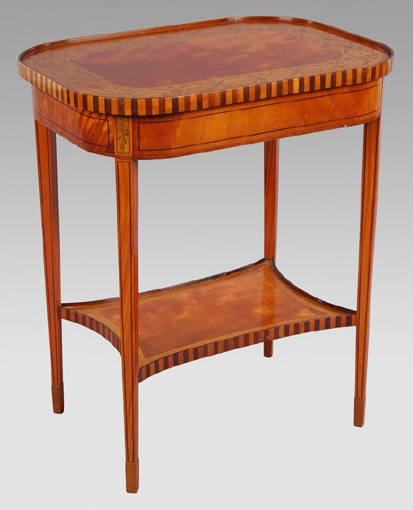 9: Edwardian satinwood banded, marquetry table.