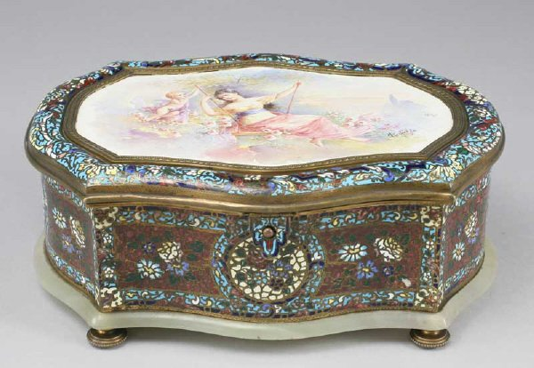 11: A French champleve and Sevres style jewel casket