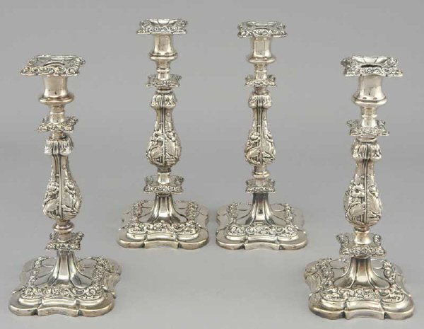 16: Set (4) English silver plate candlesticks in the