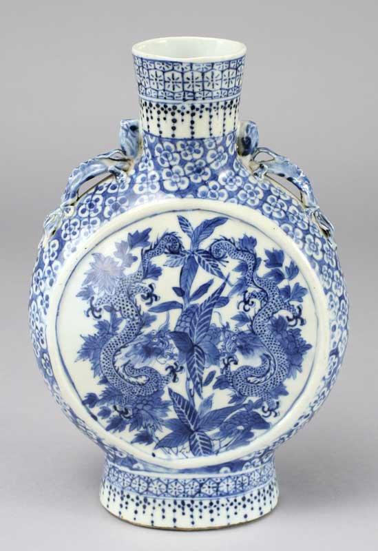 17: Chinese blue and white porcelain pilgrim bottle