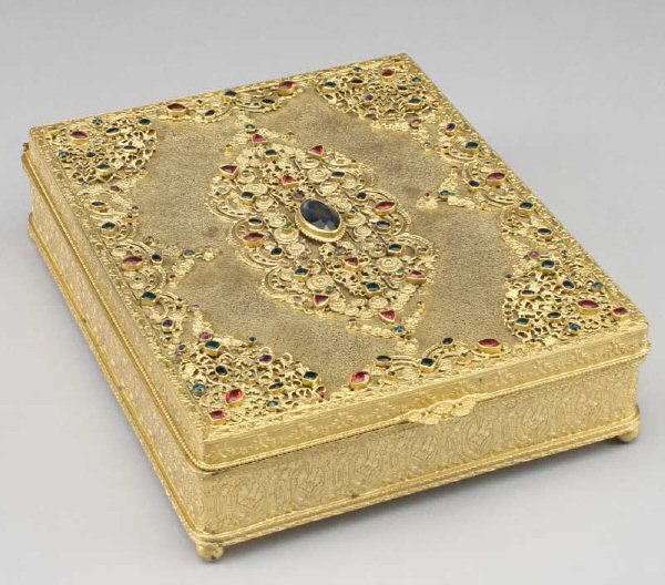 19: Gilt metal bible box with overlaid filigree