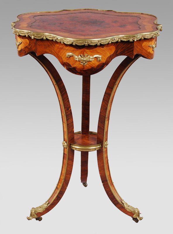 20: Louis XV style ormolu mounted side table,
