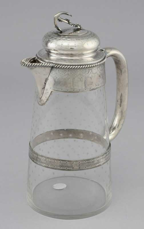 21: Sterling Silver and cut glass trophy pitcher,