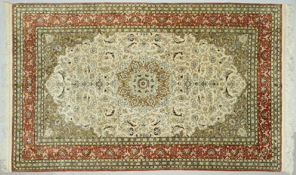 22: Qum silk medallion area rug, Central Persian,