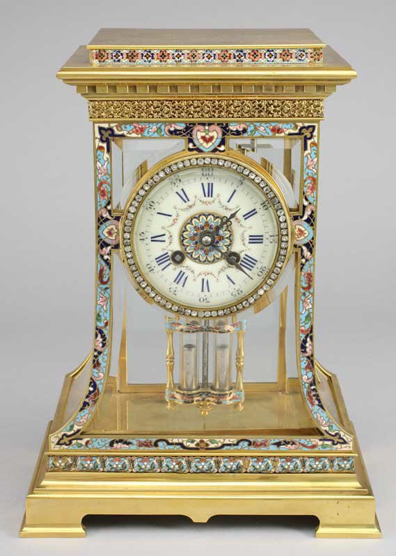 196: A French brass and cloisonne regulator clock