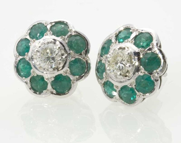 389: Pair 18K gold, diamond and emerald earrings on