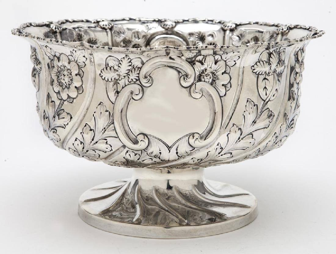 English sterling silver repousse centerpiece bowl,