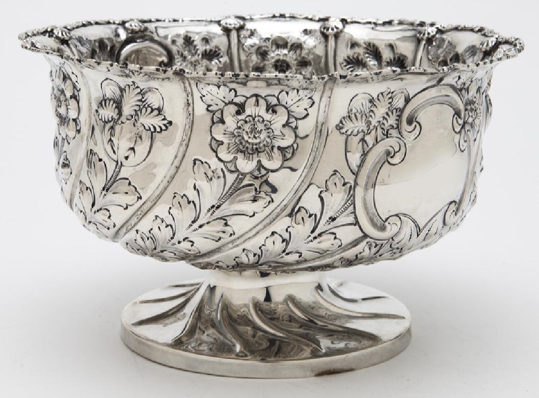 English sterling silver repousse centerpiece bowl, - 3