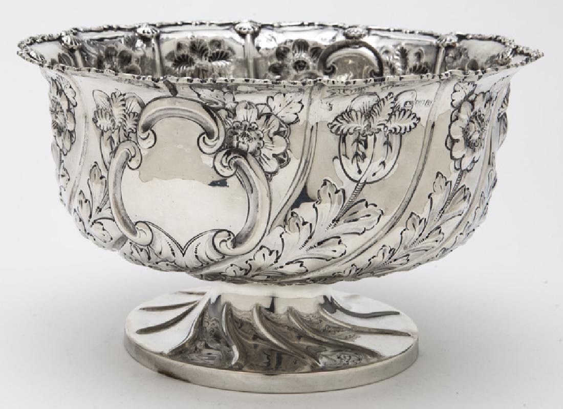 English sterling silver repousse centerpiece bowl, - 4