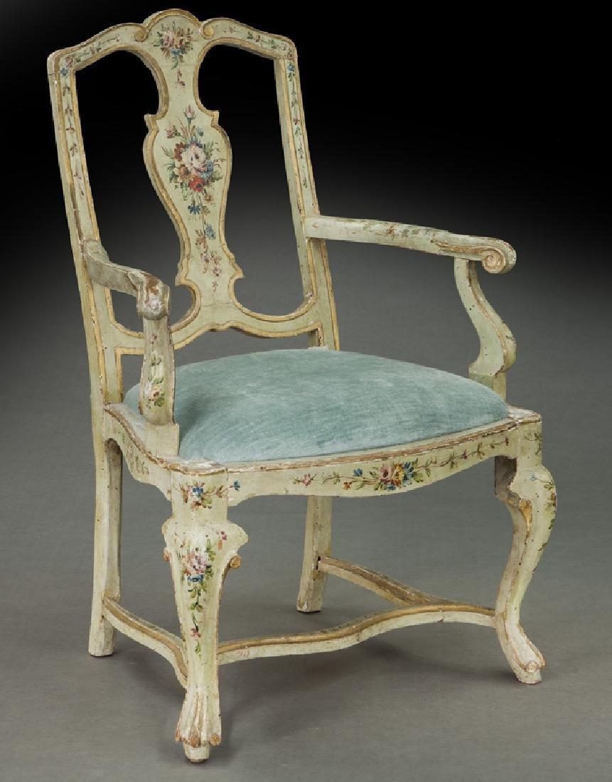 Venetian style painted armchair