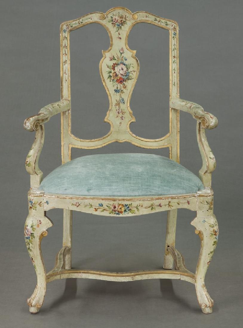 Venetian style painted armchair - 2