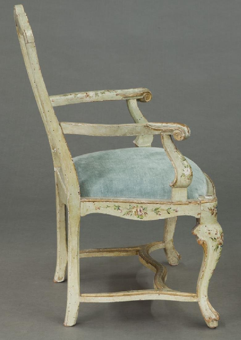 Venetian style painted armchair - 5