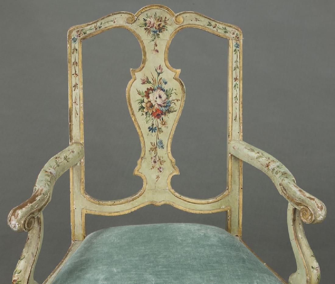 Venetian style painted armchair - 6