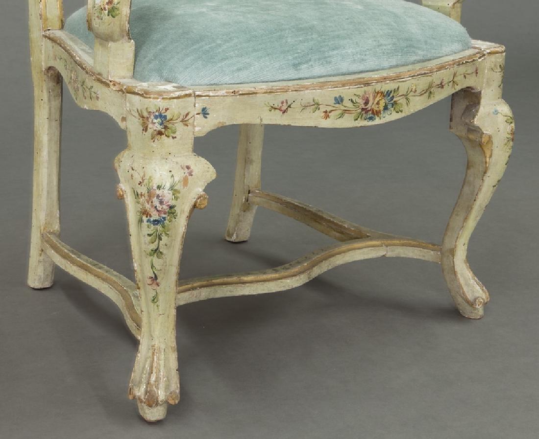 Venetian style painted armchair - 7
