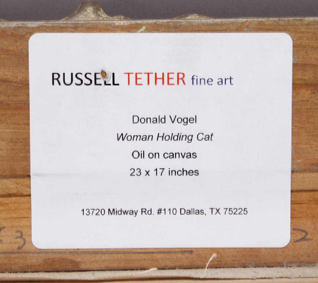 """Donald Vogel """"Woman Holding Cat"""" oil on board. - 6"""