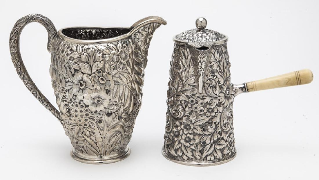 (2) Ornate American sterling silver pitchers, - 2