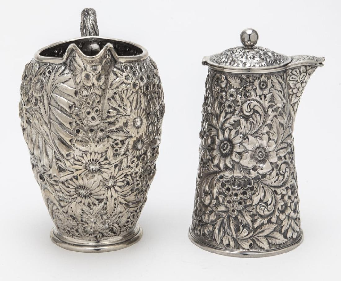 (2) Ornate American sterling silver pitchers, - 3