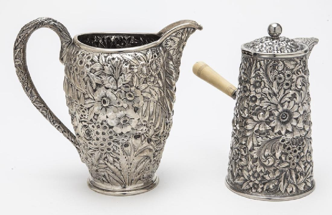 (2) Ornate American sterling silver pitchers, - 4