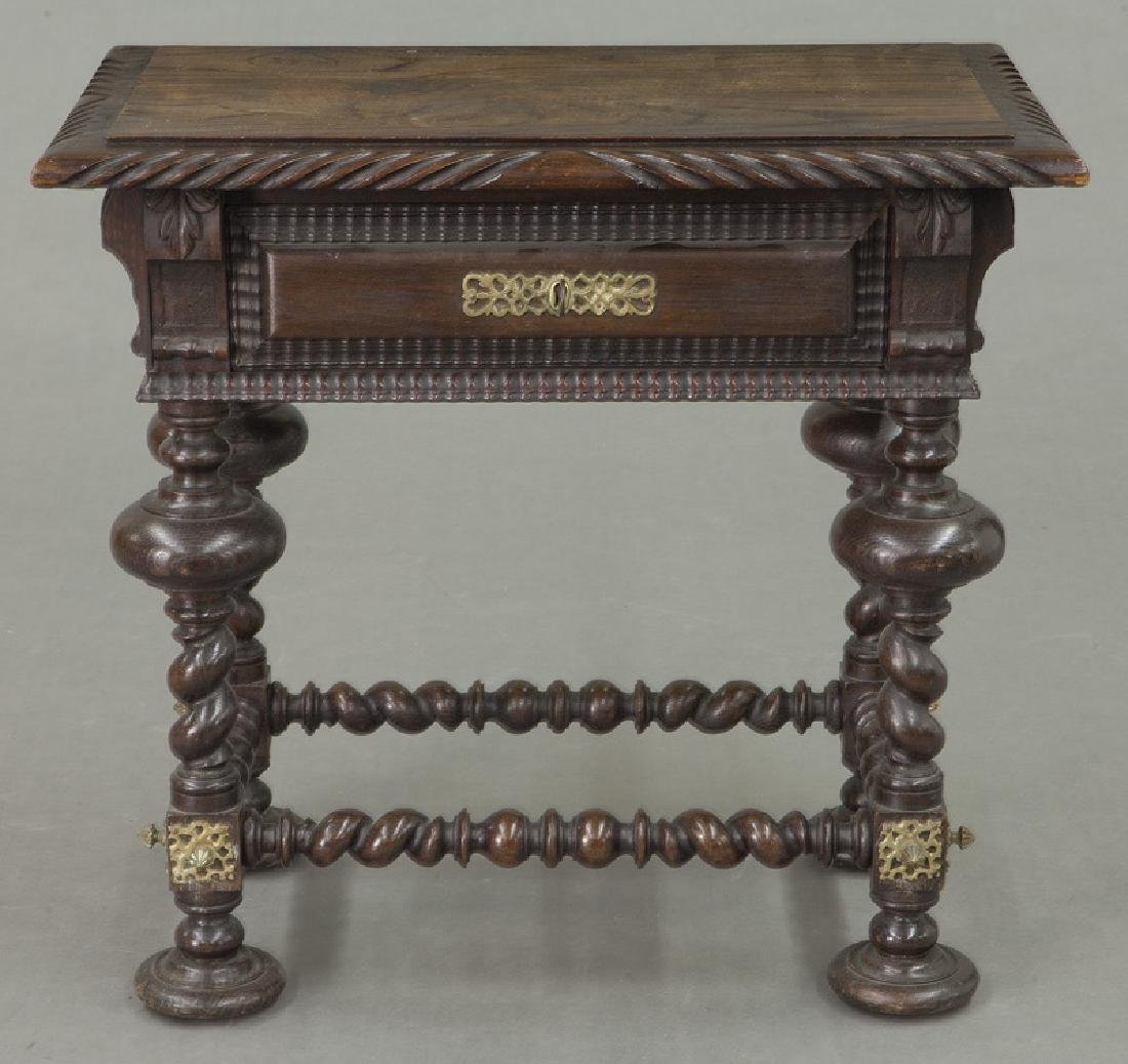 Portuguese carved wood occasional table, - 2