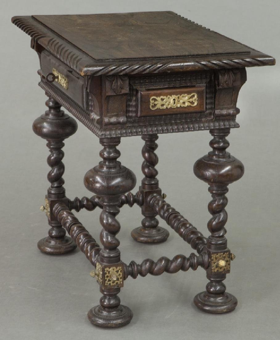 Portuguese carved wood occasional table, - 3
