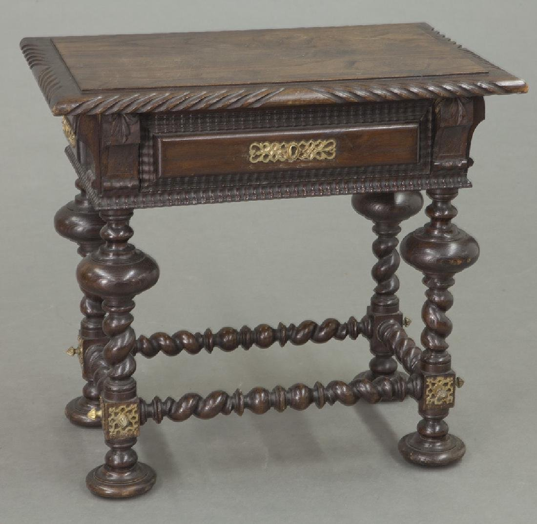 Portuguese carved wood occasional table, - 4