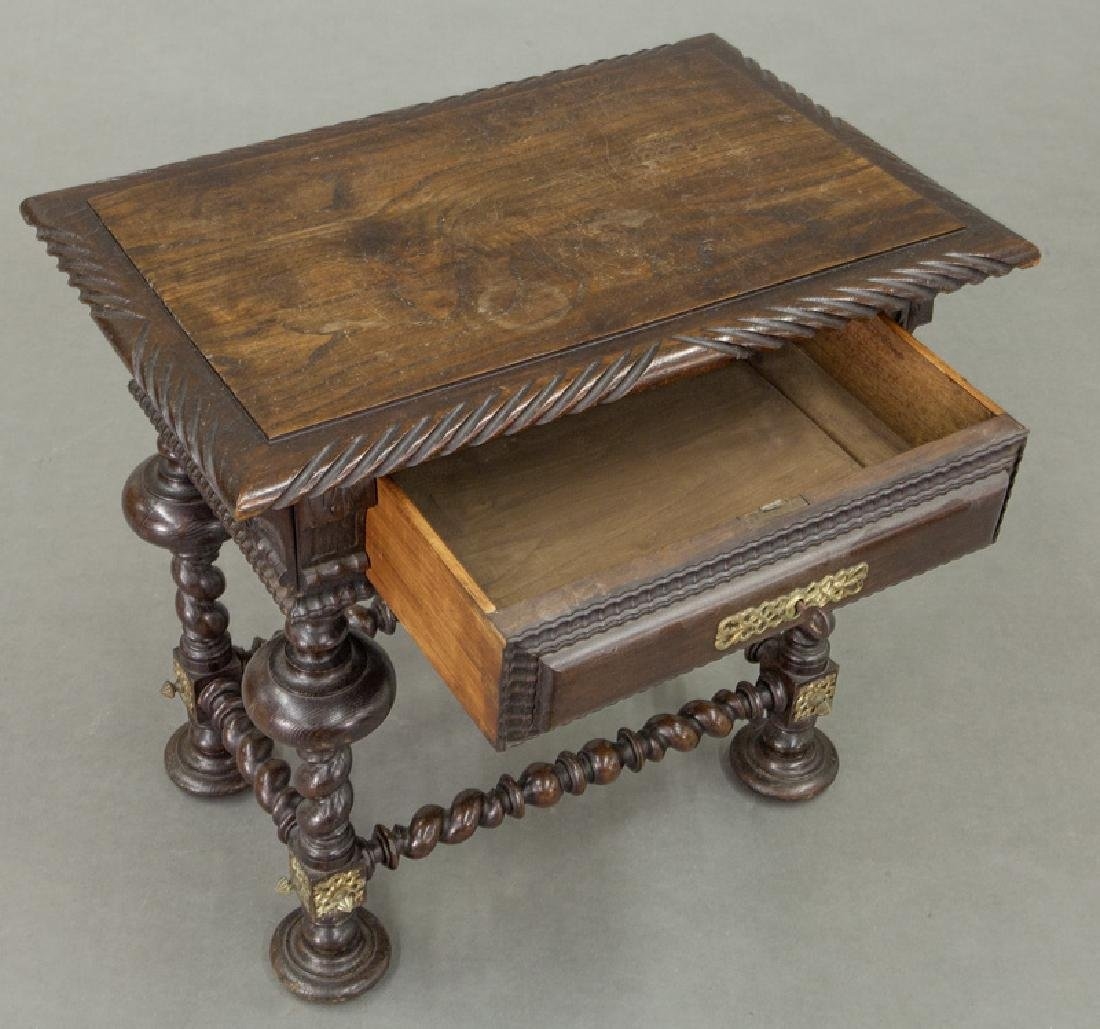 Portuguese carved wood occasional table, - 7