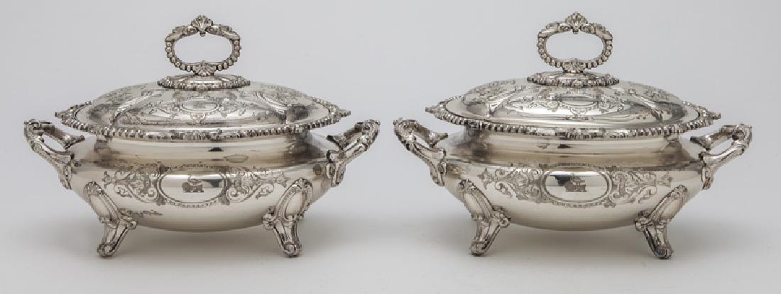 Pr. small Victorian silverplate tureens - 2