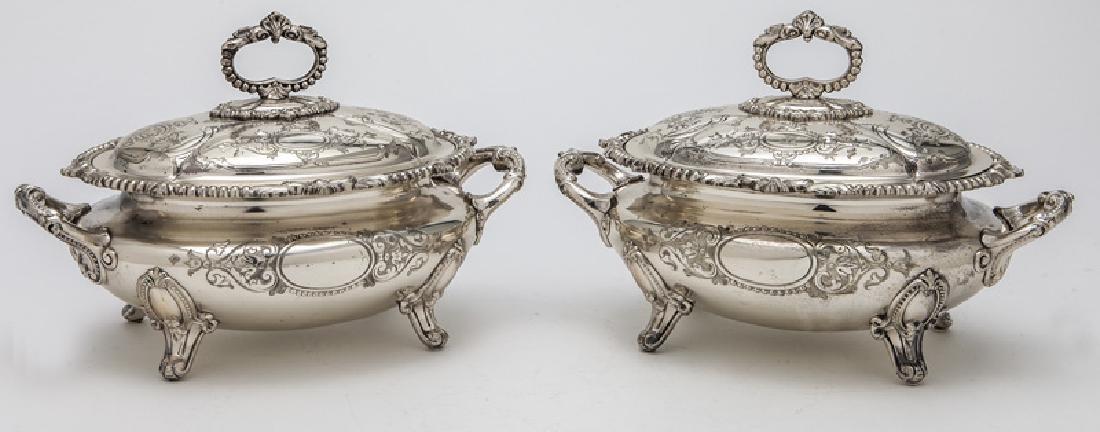 Pr. small Victorian silverplate tureens - 4