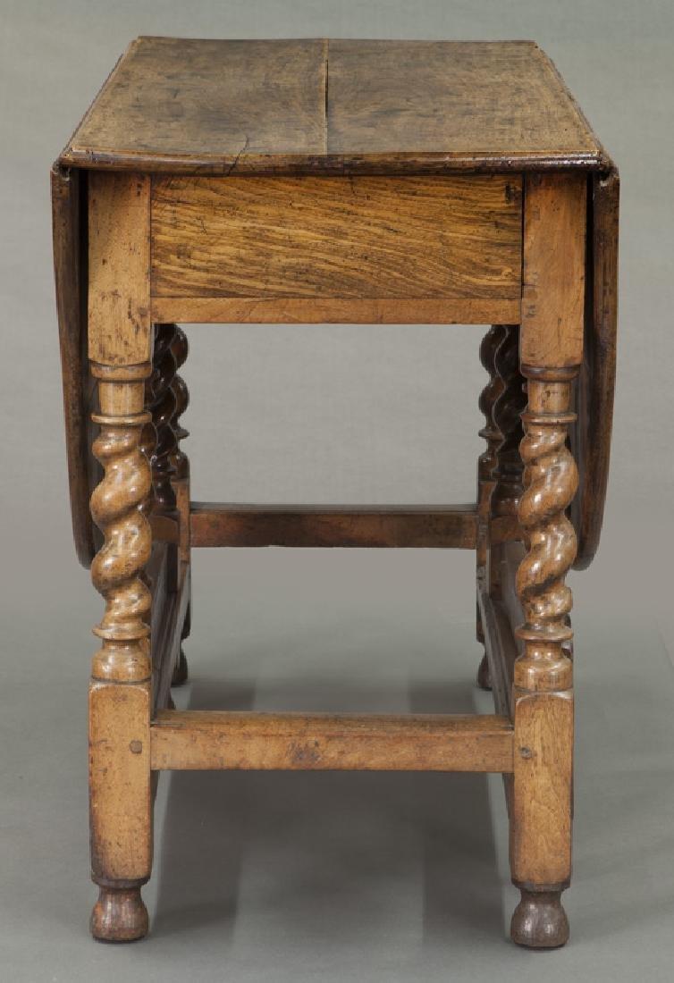 Early oak barley twist gateleg table, - 3