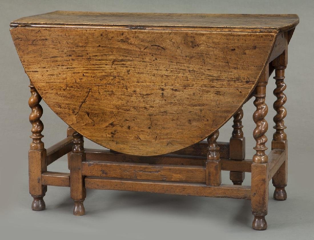 Early oak barley twist gateleg table, - 4