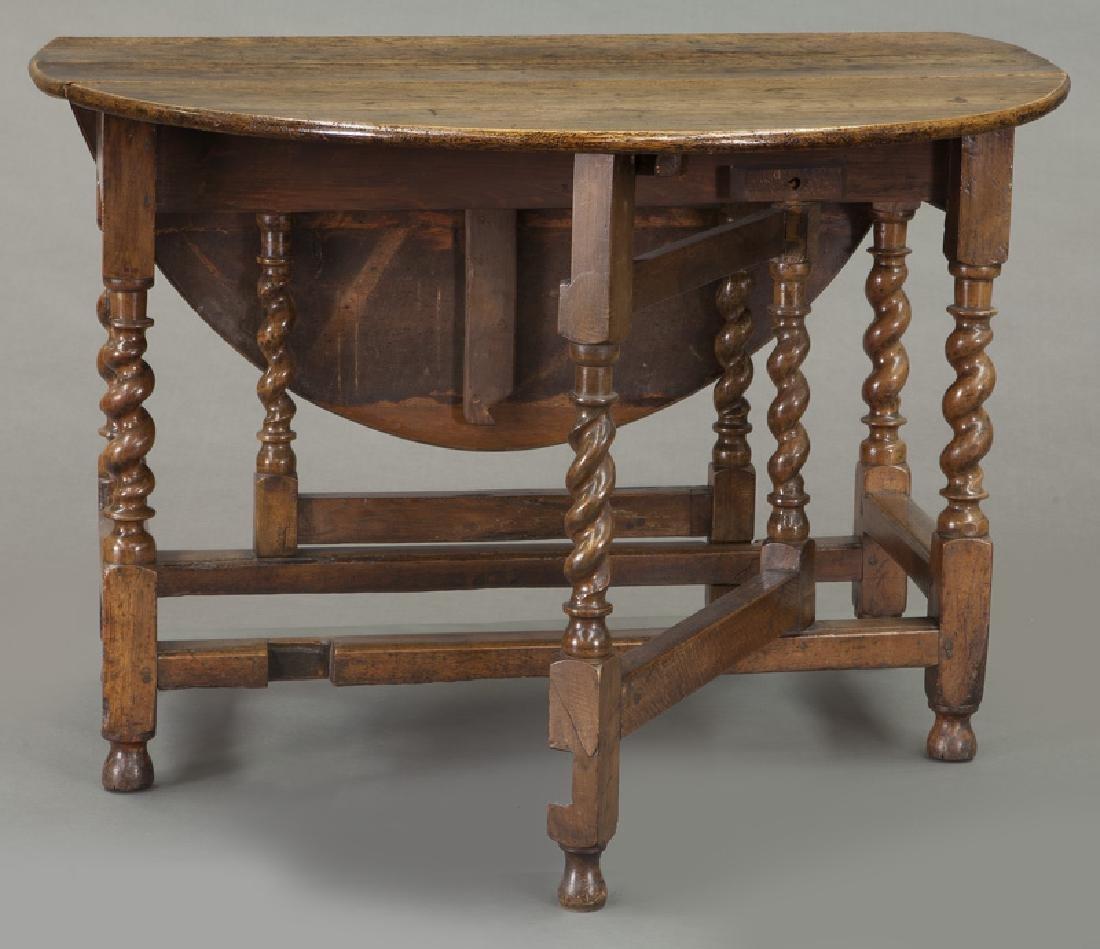 Early oak barley twist gateleg table, - 6