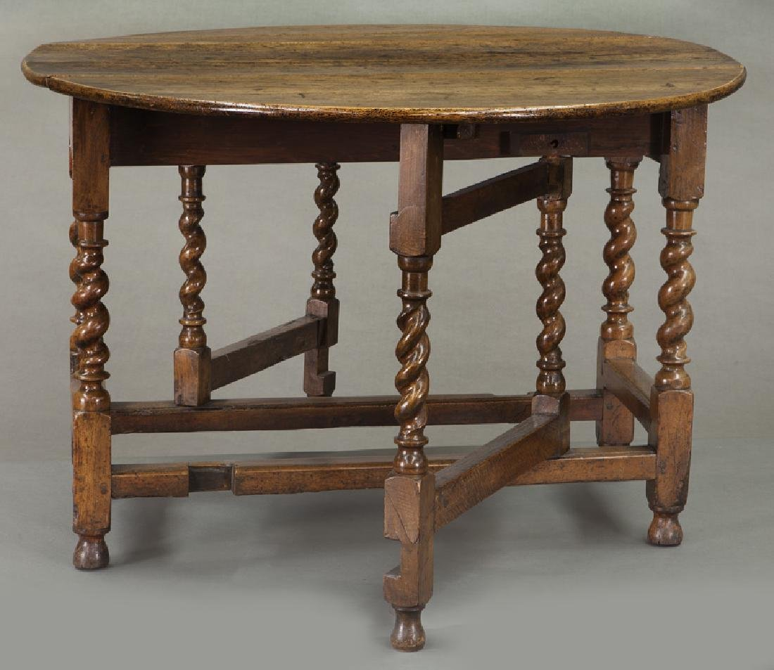 Early oak barley twist gateleg table, - 7