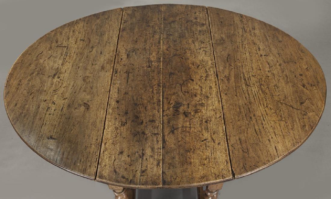 Early oak barley twist gateleg table, - 8