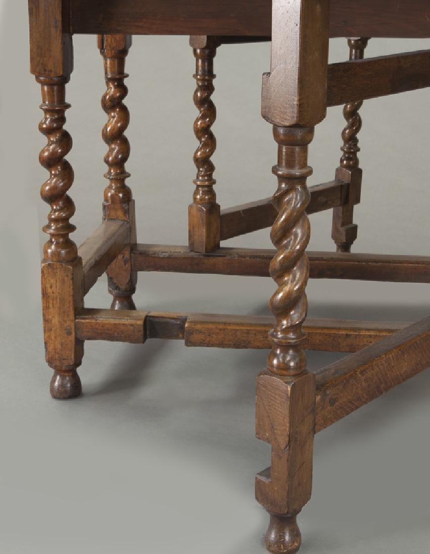 Early oak barley twist gateleg table, - 9