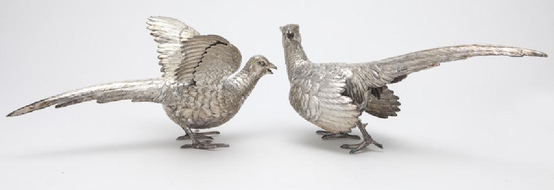 Pr. sterling silver pheasants,