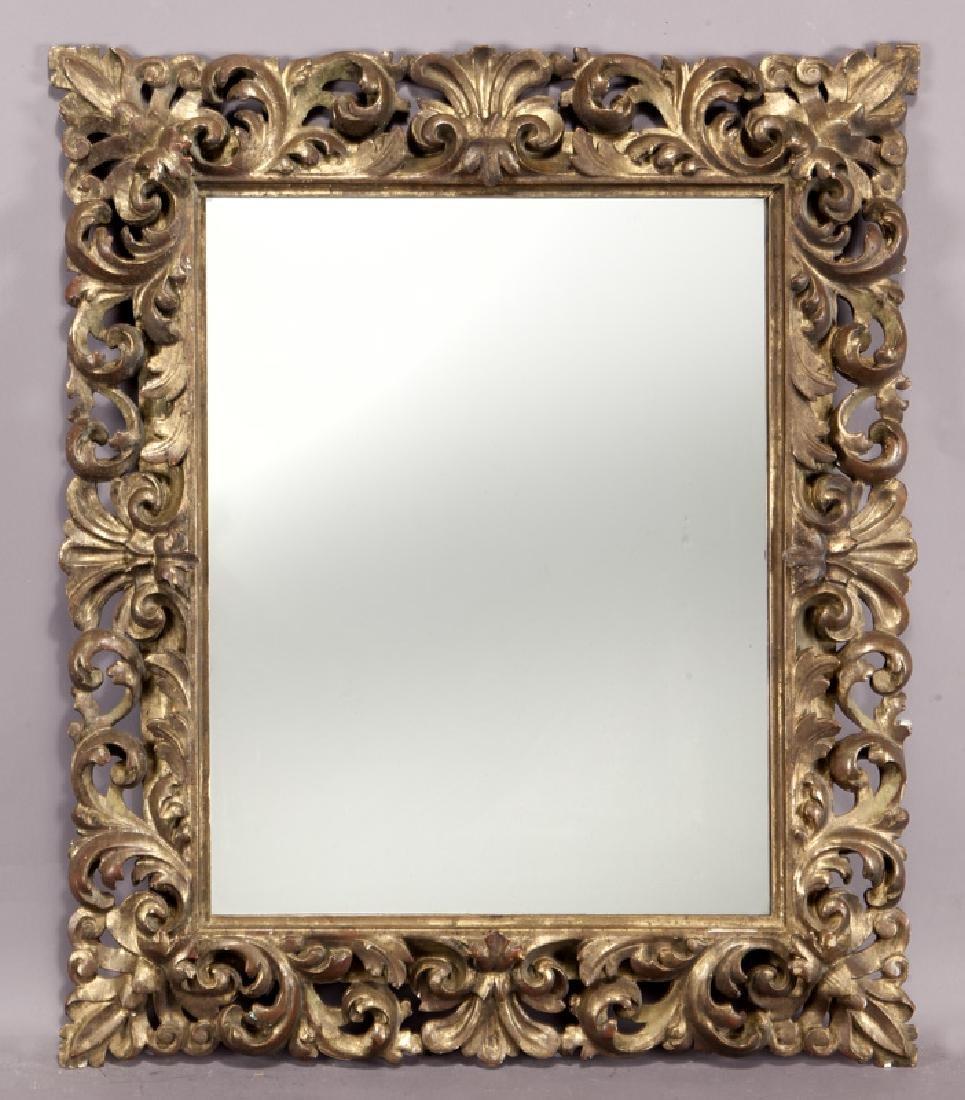 Carved wood gilt framed mirror