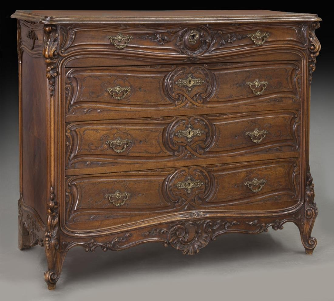 French carved walnut 4-drawer chest
