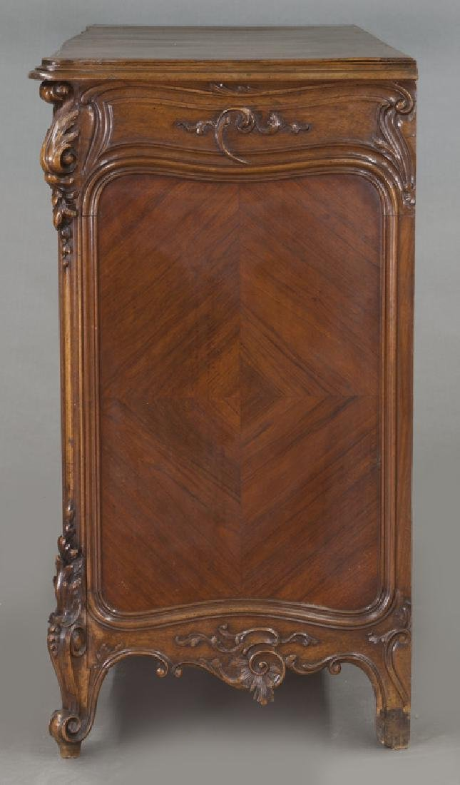 French carved walnut 4-drawer chest - 3
