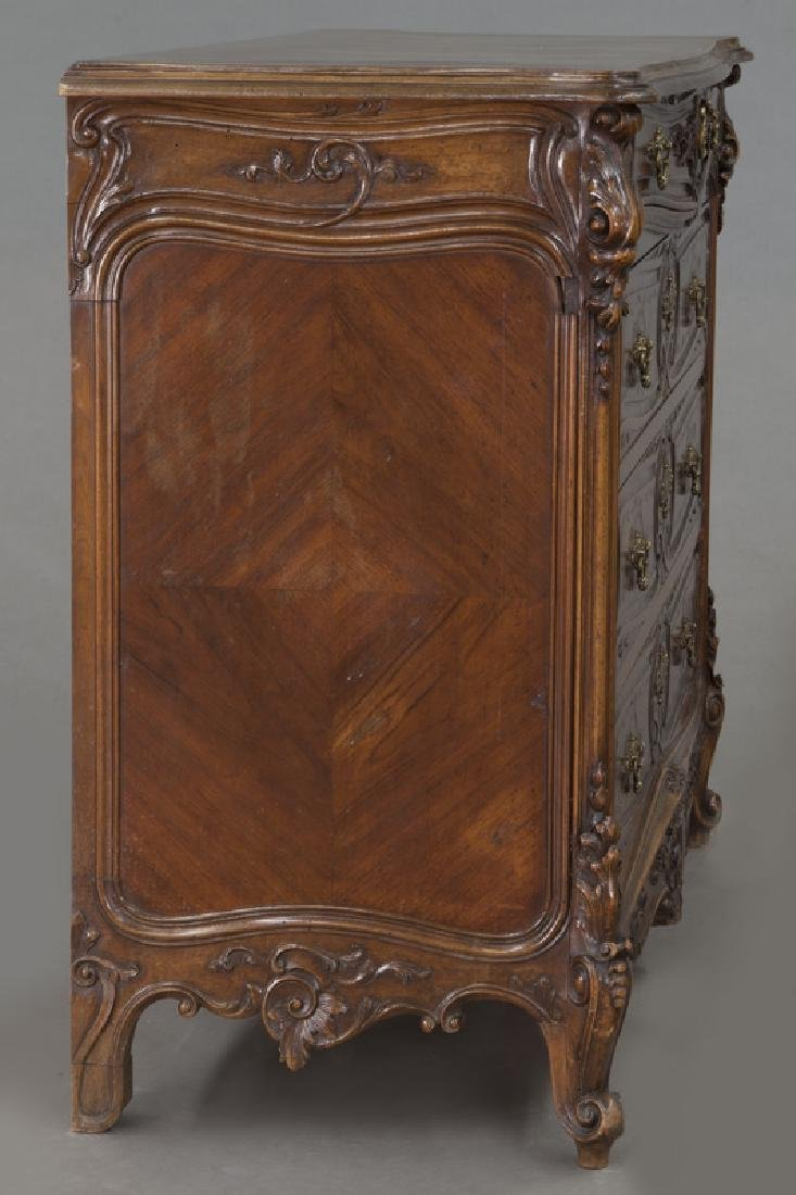 French carved walnut 4-drawer chest - 6