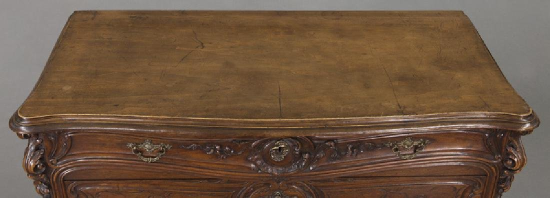French carved walnut 4-drawer chest - 7