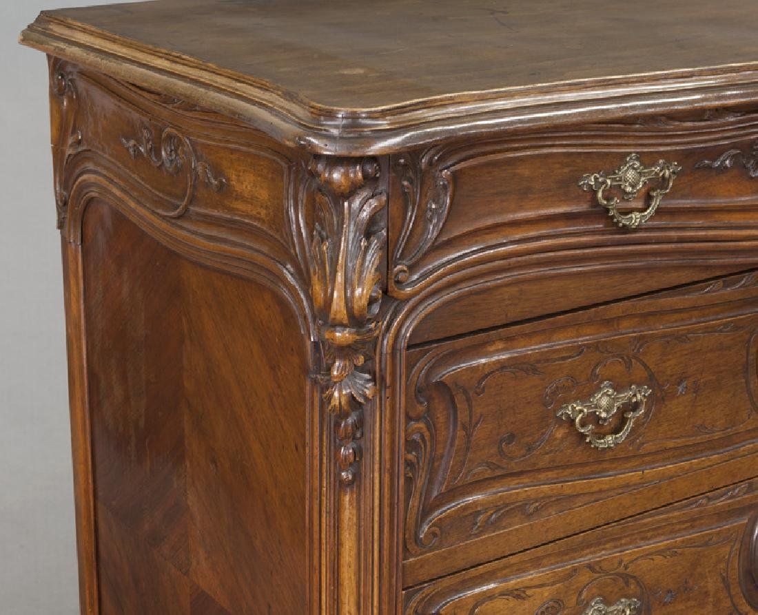 French carved walnut 4-drawer chest - 9