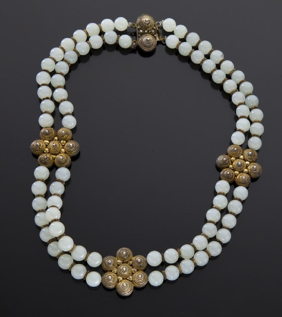 Chinese jade and silver necklace