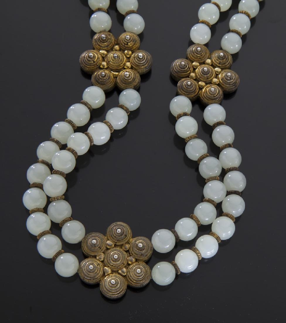 Chinese jade and silver necklace - 2