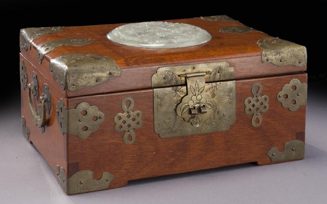 Chinese wooden box with carved jade plaque