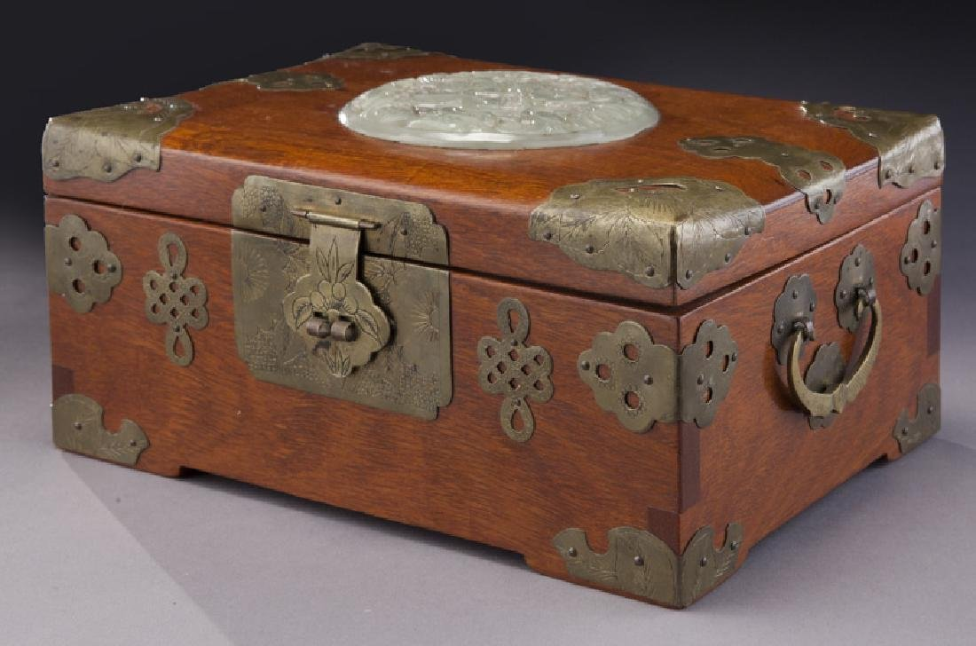 Chinese wooden box with carved jade plaque - 2